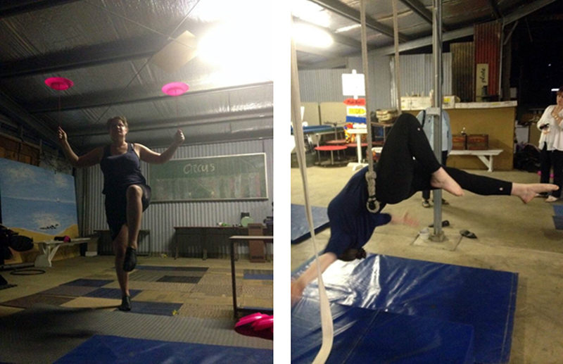 Me training in my specialty areas, plate spinning and static trapeze.